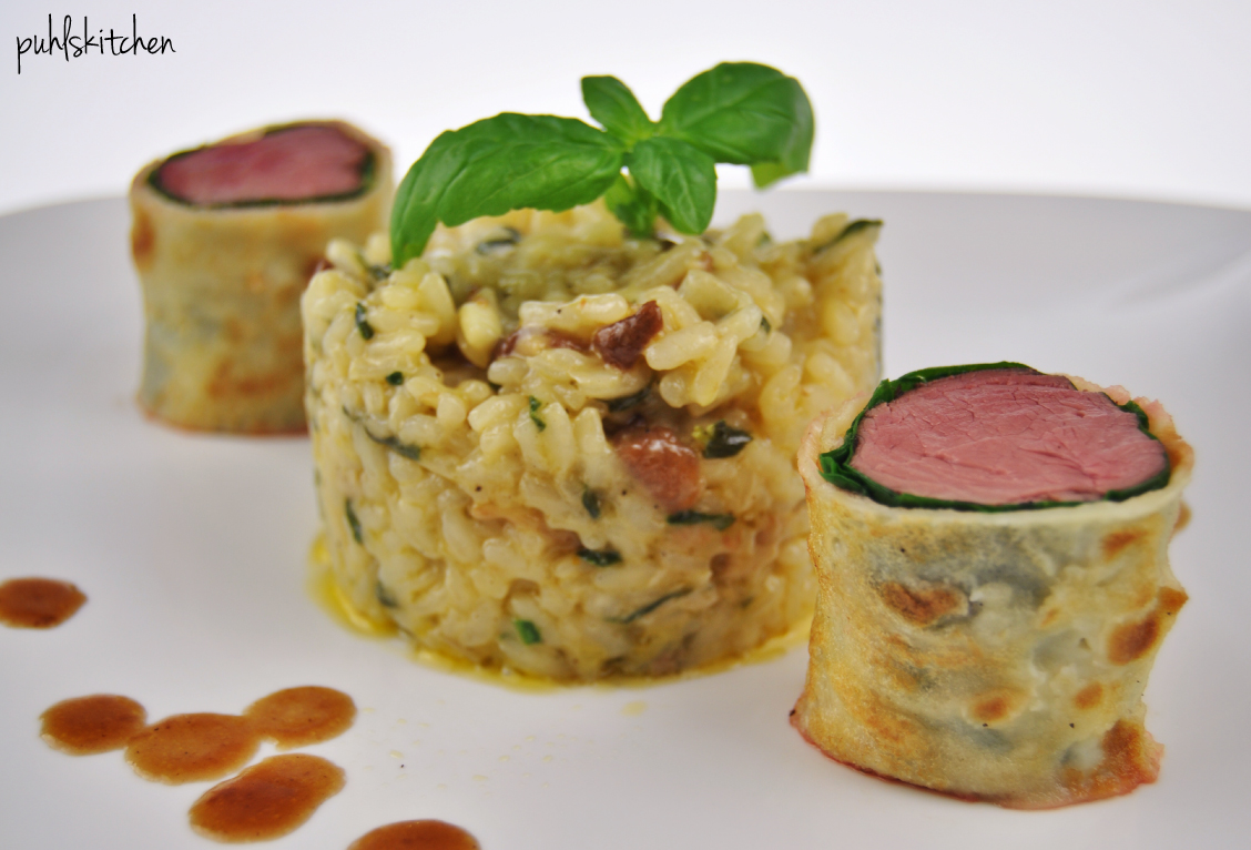 Wildschweinfilet {sous vide} in Mangold-Crêpe-Mantel an Spinat-Steinpilz-Risotto